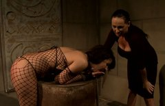 Brunette sexpot with fine ass gets her pussy fingered in hot BDSM scene