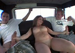 Blonde bombshell with big boobs take part in MMF threesome