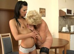 Slim black haired cutie with small tits gets her pussy eaten by blond oldie