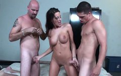 Beautifully shaped brunette girl Kourtney Kane fucking in a hot MMF threesome