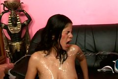 Lustful brunette doxy hops on kinky dude while giving blowjob in MMF