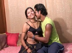 Cute Indian wife takes off sari and gets her pussy dildo fucked