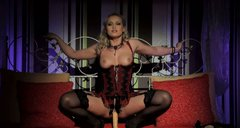 Beautiful blonde in corset and stockings Kathia Blues rides sex toy