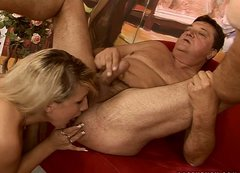 Blond haired kinky bitch makes fat dude undress to give a rimjob to him