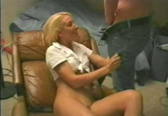 Drunk dirty blonde bitch gives blowjob to one horny dude