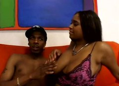 Pretty black woman Aleera Flair with juicy jugs gives awesome titjob