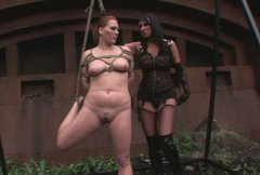 Curvy red-haired student gets hanged and bandaged in BDSM sex scene