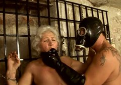 Old granny is sexually tortured in dirty BDSM porn clip