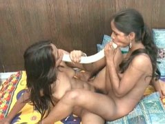 Two Indian girls shows off their pink juicy punanies in doggy style