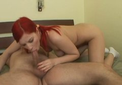 Hot blooded red-haired amateur licks stinky asshole of aroused dad