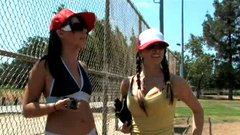 Two cuddly brunette cuties play baseball in sultry outfits