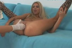 Flexible blonde stunner Clara G is getting fisted in her cunt