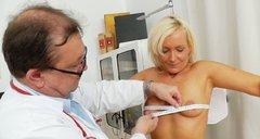 Chubby blond mom Simira is measured and fingered by perverted doctor