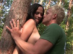 Passionate outdoor sex in standing position featuring brunette hottir Terry