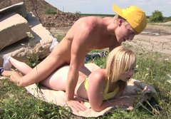 Spoiled teen slut Cindy is doggy fucked in a hardcore outdoor XXX sex video