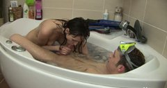 Lewd all wet and naked brunette GF Leo sucks her BF's cock in the hot bath