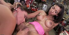 Outstanding blowlerinas with flossy asses get banged missionary by mechanic (FFM)