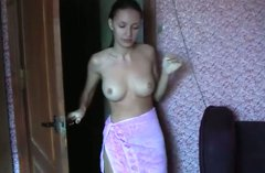 Cute smiling brunette sucks her boyfriend's dick for cum  in hot sauna
