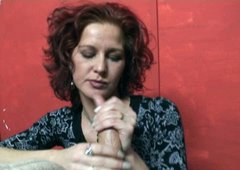 Red-haired mature whore gives hot blowjob to her horny lover