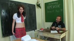 Skanky brunette amateur Martina demonstrates her cunt to horny teacher