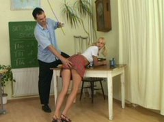 Naughty ugly and dick hungry student Zdenka gets punished by strict teacher