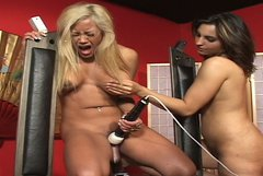 Rapacious busty lesbo Maxime X and curvy bitch gonna play with sex toys