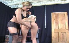 Curvy blond hoe Maxime X gets fucked with oversized dildo in BDSM sex clip