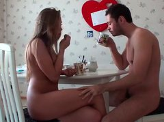 Naked booty blondie turns breakfast into a nonstop dick riding on the wide bed