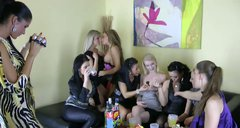 Tipsy and voracious lesbos thirst for eating each other at home orgy party