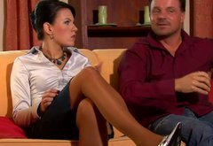 Spoiled mature pet fresh body of salty brunette chic in front of her hubby