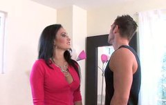 Solid built dude cums on Claudia Valentine's stomach