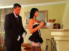 Kinky and sexy brunette maid seduces a man for sucking his tasty cock