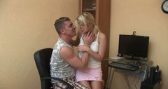Blonde girl with doll face seduces the guy so he pounds her tight twat hard in a missionary position
