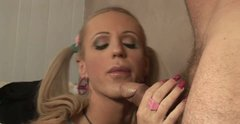 Ugly shemale blonde gives slobbery deepthroat blowjob