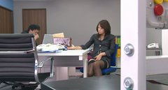 Slim Japanese boss in stockings masturbates in front of her colleagues