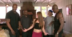 Cum addicted pale brunette has nothing against gang bang with black dudes