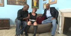 Slutty white chick has a threesome with two black men