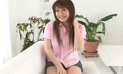 Smiling seductive wannabe Kaori Amamiya has an interview to become a porn star