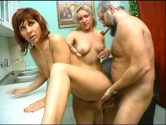 Dirty threesome sex video featuring voracious aunties Rita and Sylvia
