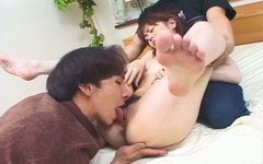 Cute Japanese chick Maria Hidaka is seduced by two horny guys for a threesome fuck