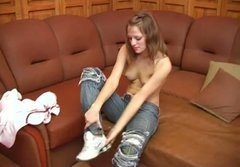 Getting rid of jeans slim nympho bends over for being fucked doggy