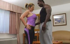 Bootylicious and busty blondie Sara Jay sucks a black cock for sperm