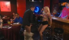 Horny blonde slut Holly Wellin fucking in the bar full of random people