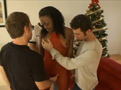 Incredibly seductive girl Chastity seduces three horny white dudes