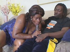 Zealous black mom Dimples gives a head to massive rod