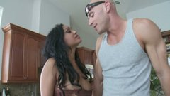 Outrageously hot brunette Priya Rai fucking and sucking big cock