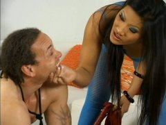 Asian hot nympho Christina Aguchi gets her feet licked by submissive dude