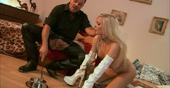 Submissive blonde hooker Nicky Angel eats from the floor