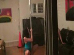 Two pole dancing babes gets roughly fucked by the voyeur guys