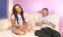 Fresh ebony chick Melrose Foxxx fucks an old guy who is twice elder than her